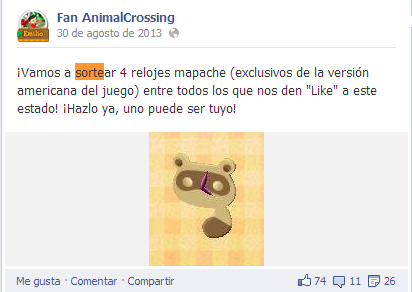 Sorteo mapaches Facebook