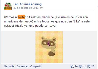 Sorteo mapaches Facebook