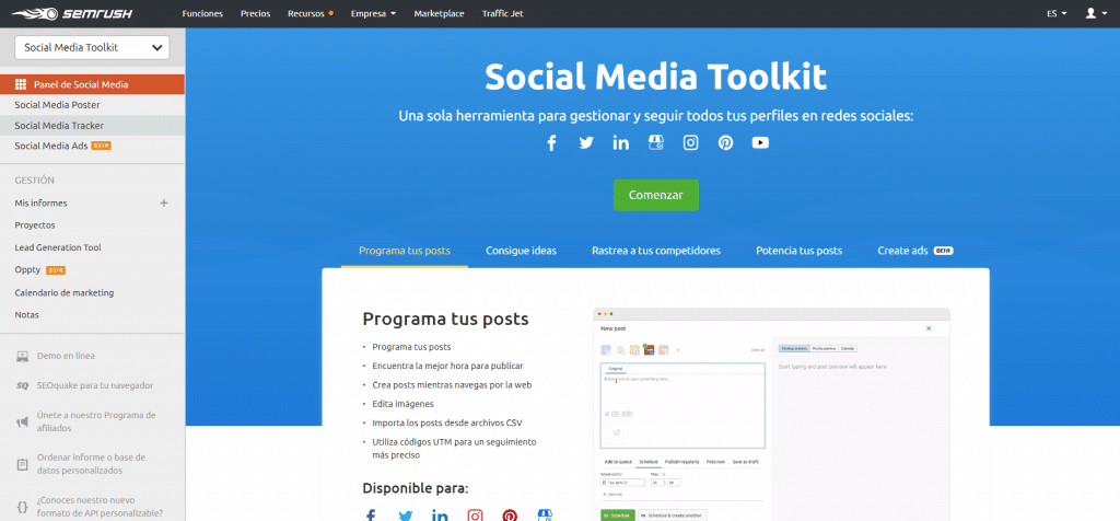 Social Media Tookit SEMrush
