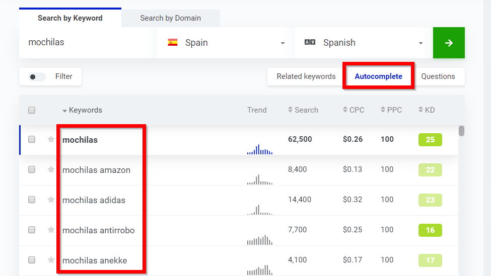 Autocompletar keywords en KWFinder