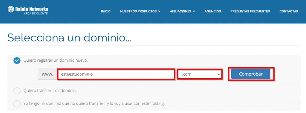 Registrar dominio personalizado en Raiola Networks