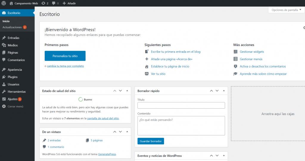 Panel de administración de WordPress